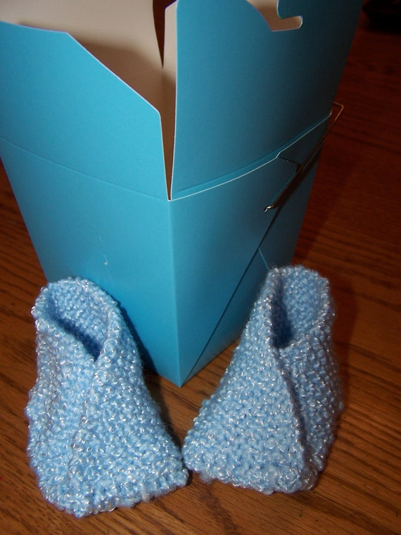 Little Boy Blue Knitted Fortune Cookie Booties