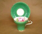 Vintage Aynsley Tea Cup and Saucer  Bone China Green with Pink Flowers
