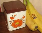 Vintage Tin Box Orange Flower and Brown Lid