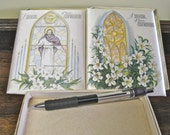 Vintage Confirmation Souvenir Book Card, Stained Glass Jesus Dove Satin Cover, Box of Two