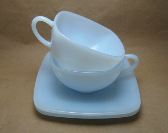 Fire King Blue Azurite Milk Glass Tea Cups and Saucers, Vintage Teacups, Set of Two