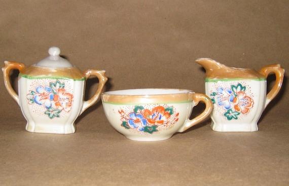 Vintage Child's Tea Set Creamer Sugar Tea Cup Miniature Porcelain Peach Lusterware Made in Japan