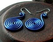 SALE mega blue simple swirl earrings - aluminum wire spirals