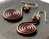 medium brown simple swirl earrings - aluminum wire spirals
