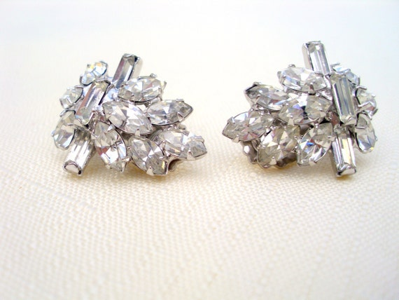 Vintage clear faceted rhinestone clip earrings prong set