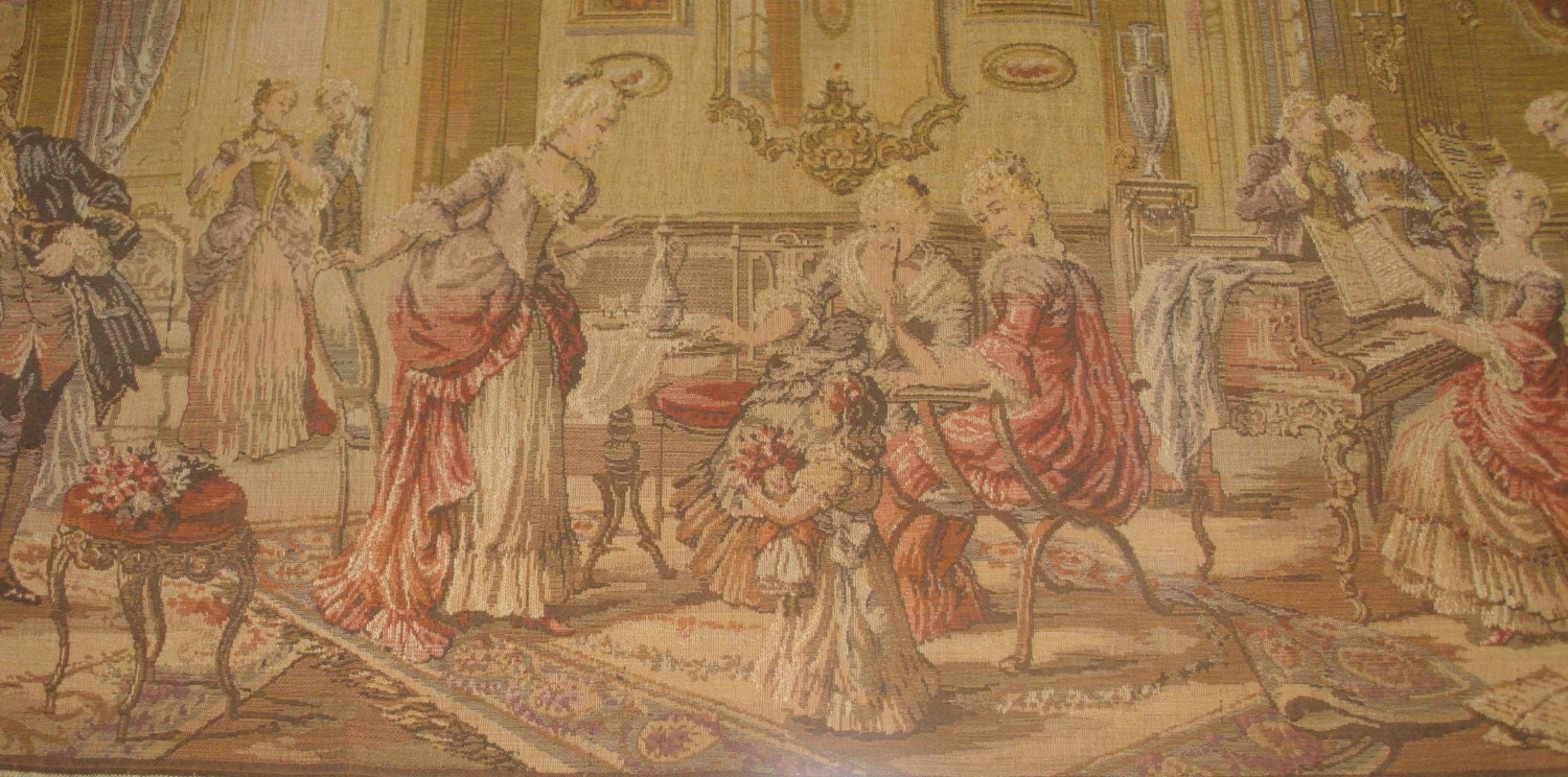 Antique Belgian French tapestry romantic Victorian home decor