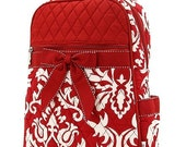 Red Quilted Damask Backpack Purse Handbag