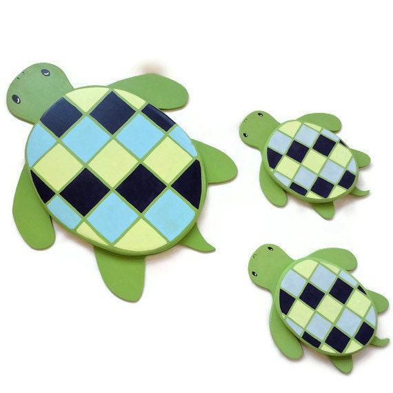 Sea Turtles Wall Decor for Kids Bathroom, Bedroom, or Playroom - Set of Three Wall Hangings