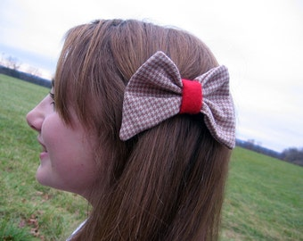 Happy Houndstooth Bow Barrette