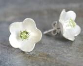 Peridot Flower Post Earrings Fine Silver