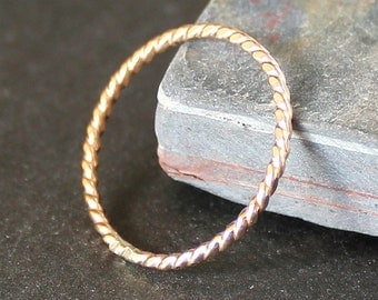 Twisted Wire 14K Gold Filled Stacking Ring - 1.3mm - 16 Gauge
