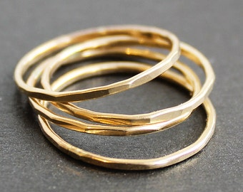 Skinny 14K Gold Filled Ring (1 Ring) - Smooth, Faceted or Hammered
