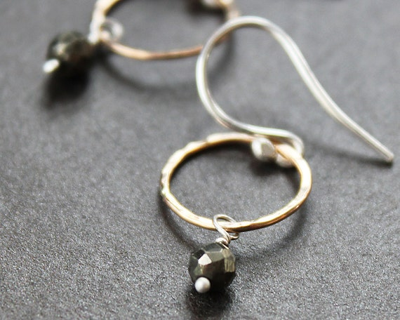 Earrings - Mixed Metals Gold Filled Hammered Hoops with Pyrite Drops