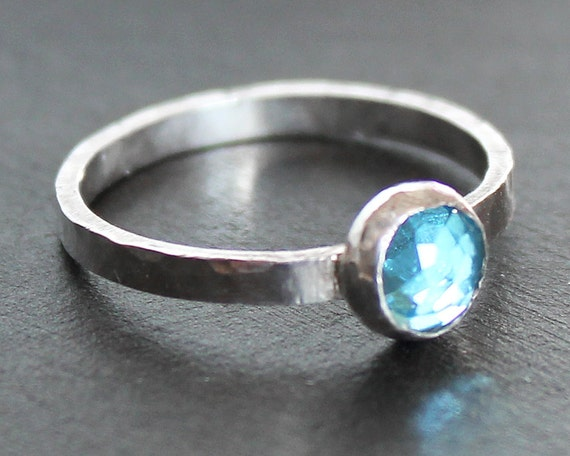 Swiss Blue Topaz 6mm Stacking Ring on Hammered Sterling Silver Band