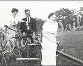 Vintage Photo Two LADIES, a MAN and a PLOW - Large Digital Download