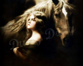 Beautiful Gypsy Girl with Horse - Vintage French Postcard - Lg Digital Download