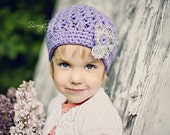 Lilac Hat for Girls, Crochet Beanie Hat, Cotton Crochet Hat, Girl's Crochet Hat, Beanie for Girls, Violet, Grey, Cotton,  5T to Preteen