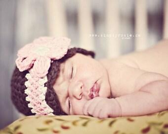 Crochet Baby Hat, Newborn Girl Hat, Baby Hat Photo Prop, Brown, Pink, Off White, Newborn Size