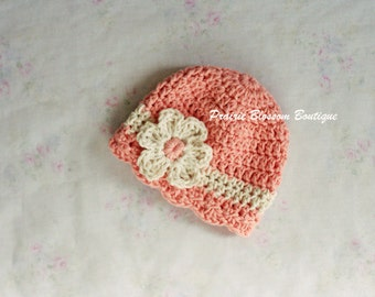 Crochet Newborn Hat for Girl, Baby Cotton Hat, Peach and Cream Hat, Crochet Baby Beanie, Peach, Off White, Newborn Size