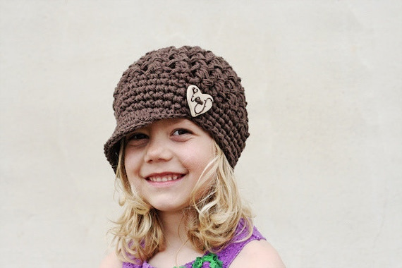 Brown Crochet Hat with Button, Girl's Newsboy Hat, Crochet Cotton Hat, Crochet Visor Beanie, Brown, Cotton, 5T to Preteen