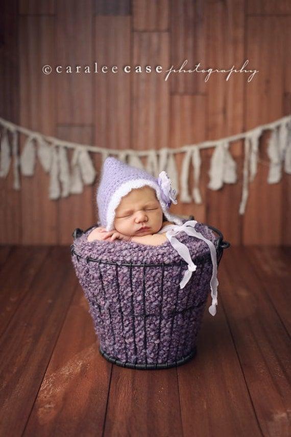 Newborn Girl Hat, Baby Bonnet, Baby Girl Hat, Crochet Baby Hat, Newborn Photo Prop, Mohair Pixie Hat, Purple, Cream - READY TO SHIP