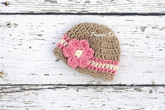 25% off Sale - Crochet Baby Hat, Infant Hats, Newborn Girl Hat, Crochet Baby Beanie, Jute, Off White, Pink, Newborn Size - READY TO SHIP