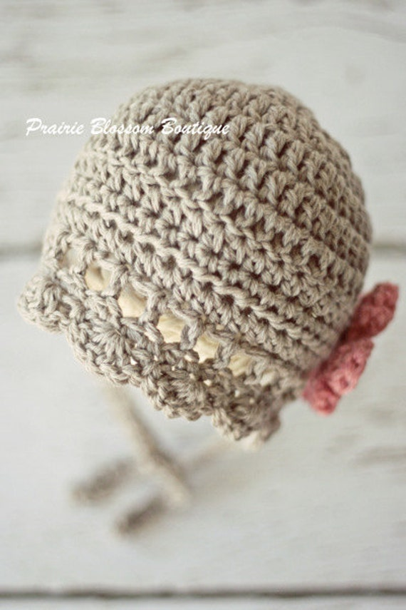 Baby Girl Bonnet, Baby Girl Photo Prop, Crochet Baby Hat, Grey, Pink, Organic Cotton, Newborn Size - Ready to Ship, ONLY ONE AVAILABLE