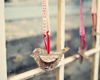 Newsprint Small Bird Ornaments