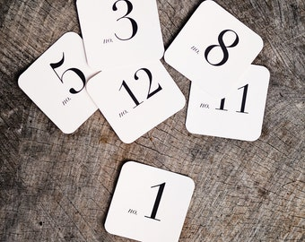 Square Number Place Cards (1-12)