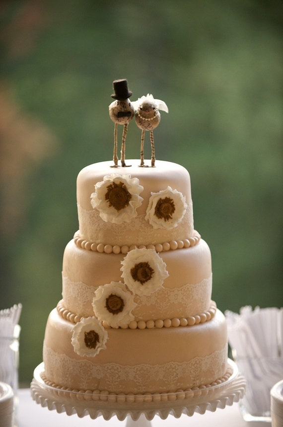 wedding cake toppers etsy bird and groom cake toppers 8824