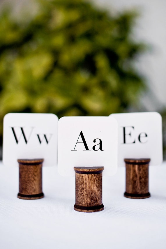 Wooden Spool Name Card Holders (Set of 6)