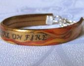 Hunger Games Inspired - Girl On Fire - Hand Painted Bracelet