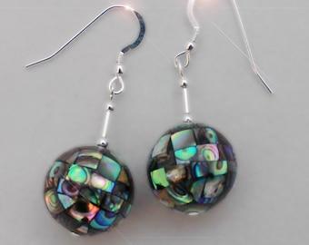Ocean Rainbow -  Sterling Silver and Paua Shell Abalone Mosiac Earrings