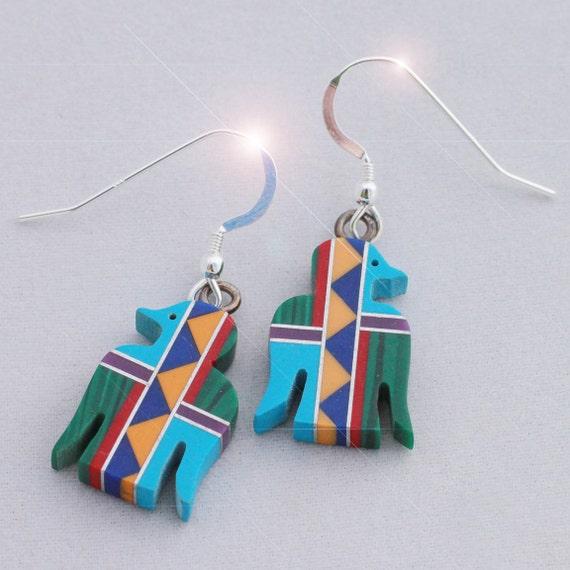 Native American - Beautiful Stone Eagle Intarsia Sterling Silver Earrings