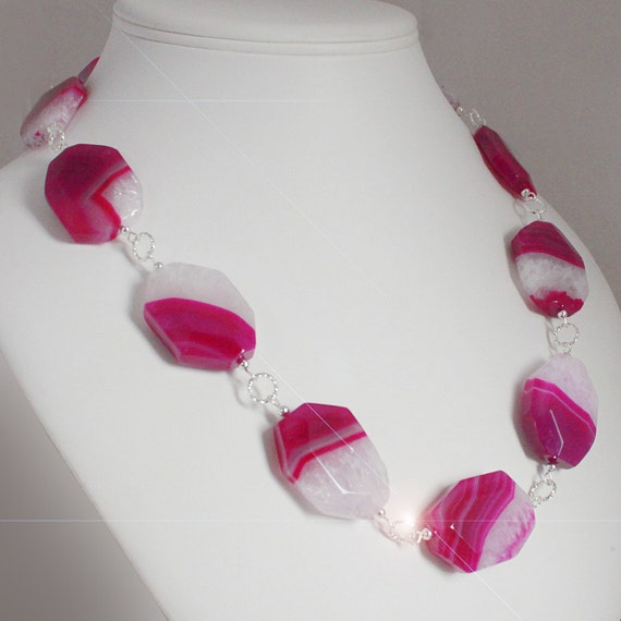 Fuschia Fantasy - Hot Pink Chunky Faceted Banded Agate and Sterling Silver Necklace