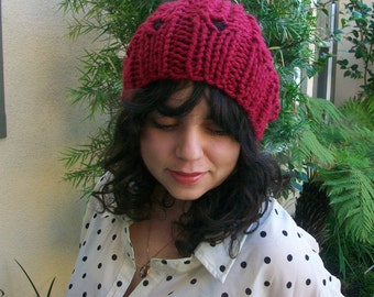 Cardinal Red Super Chunky Knitted Slouchy Hat