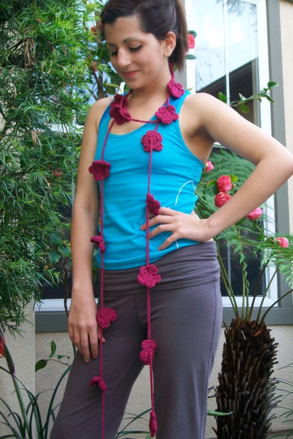 Sale Price Hot Pink Flower Crocheted Lariat Scarf
