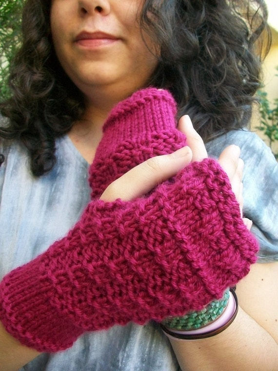 Rasberry Knitted Fingerless Gloves