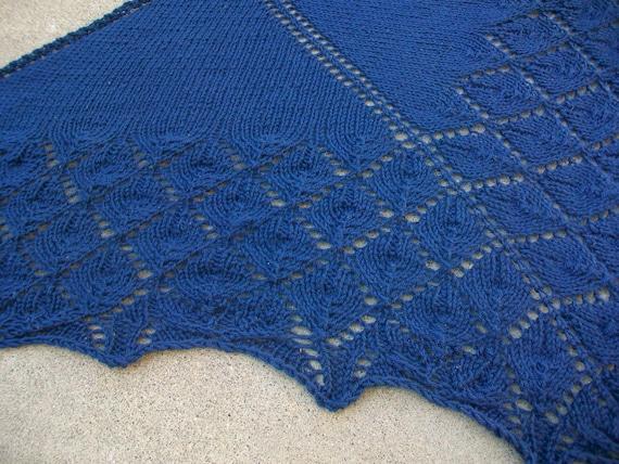 Diamonds are a Girl's Best Friend Anchor Blue Triangular Leaf Lace Shawl