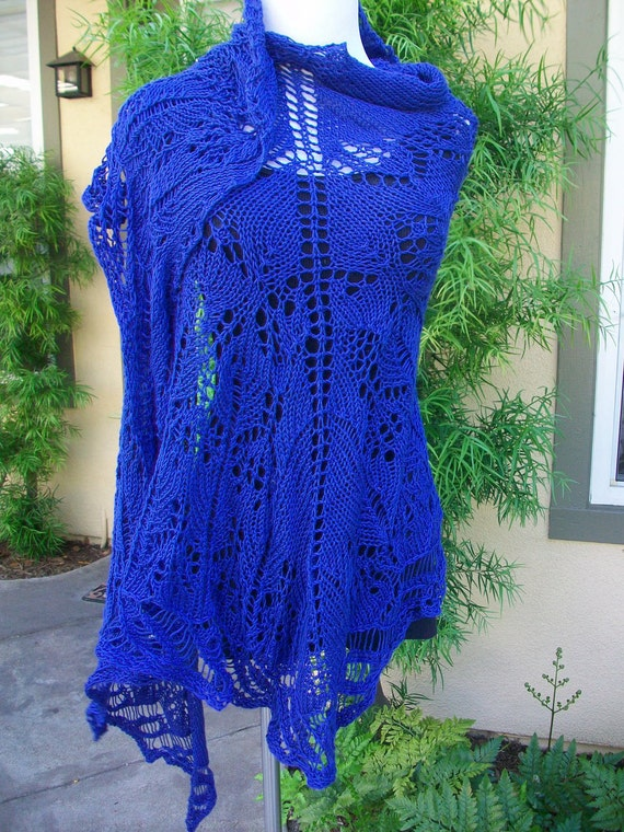 The Cobalt Blue Bayou Pima Cotton Knitted Lace Shawl