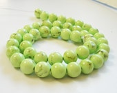 Neon  Green Turquoise Smooth  Round Beads 8mm / Half Strand Approx 22  Pieces