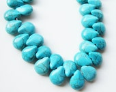 Turquoise Briolettes Gemstones Beads/ Blue Turquoise Teardrop Beads (14) Pieces  /This Is Not A Necklace