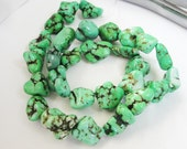 Green Magnasite Chunky Nuggets Beads/ Full Strand 16 Inch