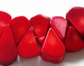 Red Coral Bamboo Flat TearDrop Briolettes Beads ( 24) Pieces
