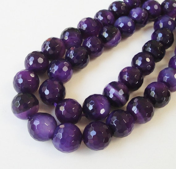 """Purple Faceted Round Ball Agate Beads 10mm / 7.5"""" Inch Approx 19 Pieces/Beads Only Not Jewelry"""