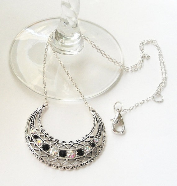 Black  Jet  Crystal  Sterling Silver Crescent Chainmaille Necklace