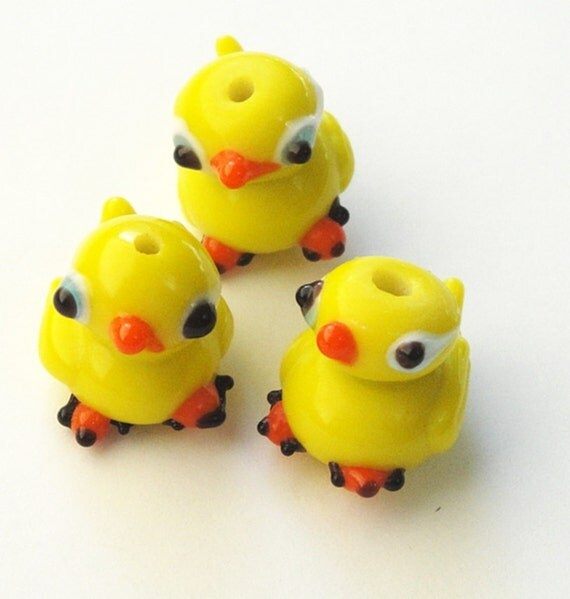 Neon/ Yellow Dukling Ducks Glass  Charms/ Ducks Lampworked  Beads ONLY (3) Pieces