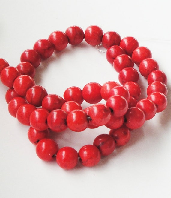 Red Turquoise Smooth Round Beads/ 16 Inch  Strand / 8mm /This Is Not A Necklace