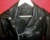 Reserved for NATASZA N until Nov 4 2011 - Vintage Black Leather Motorcycle Jacket with Multiple Zippers - Great Condition