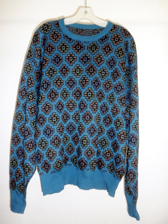 RESERVED FOR MOLLI -Vintage Boho Chic Men's Southwestern All Around Print Sweater